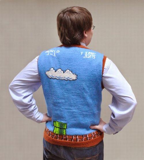 Super Mario Bros Sweater Vest Back