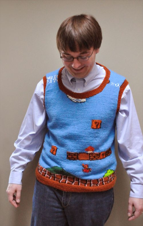 Super Mario Bros Sweater Vest Front