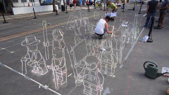 3D LEGO Terracotta Army Street Art Wireframe