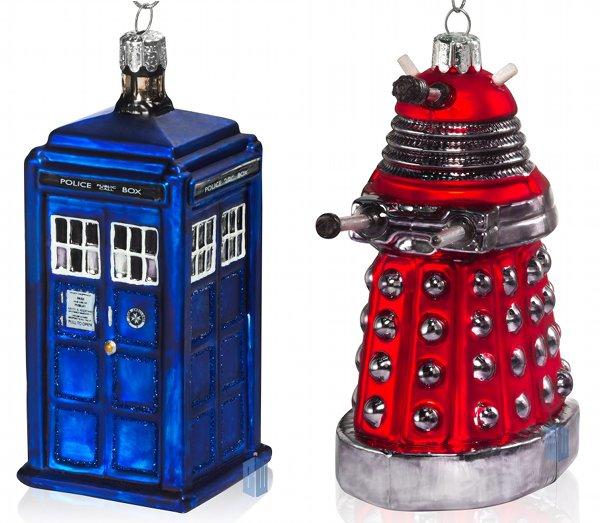 Doctor Who TARDIS and Dalek Christmas Ornaments
