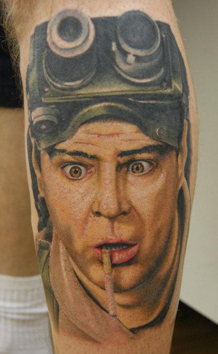 Ghostbusters Dr. Raymond Stantz Leg Tattoo