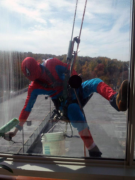 Spider-Man Washing Windows