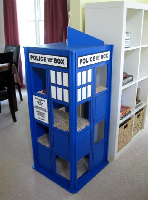 cats like to play in a tardis too pic global geek news