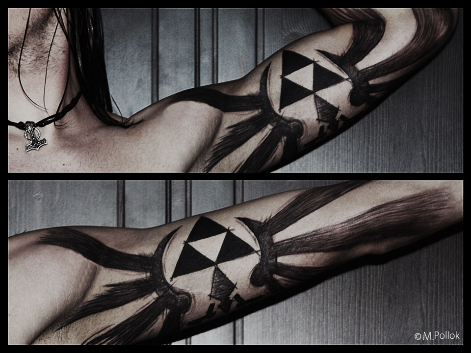 Legend of Zelda Triforce Bicep Tattoo