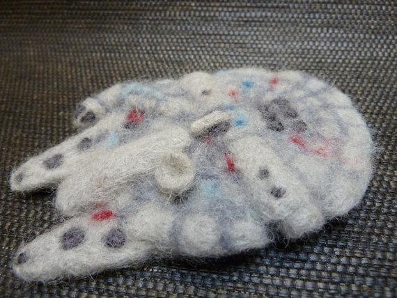 Wool Felted Star Wars Millennium Falcon Ornament