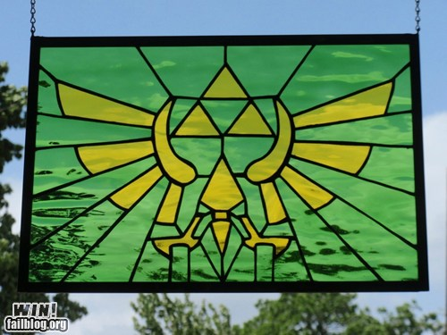 Legend of Zelda Hylian Crest Stained Glass