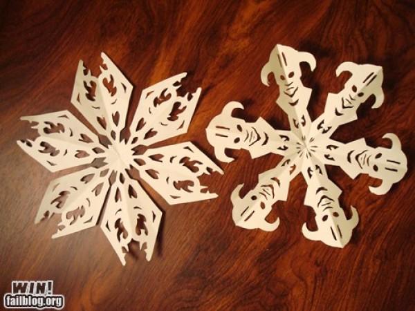 Skyrim Logo and Dragonborn Paper Snowflakes