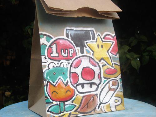 Super Mario Bros Power Ups Lunch Bag Art