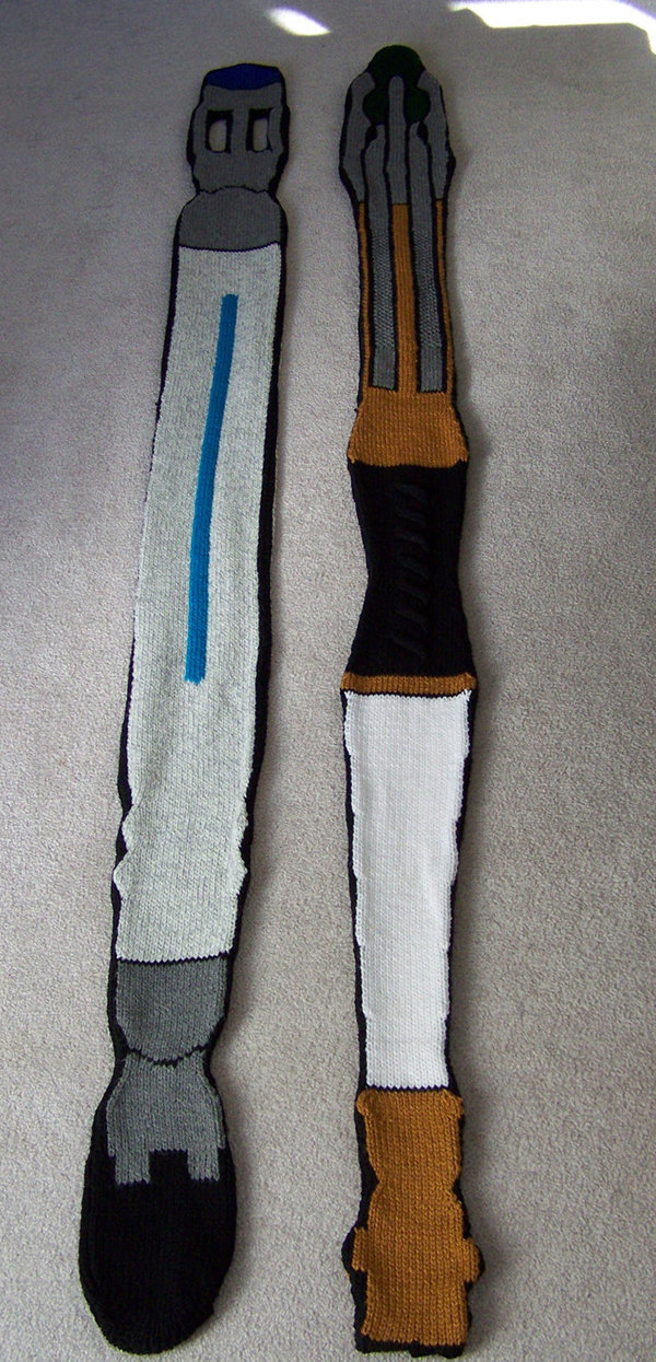 10th and 11th Doctor Sonic Screwdriver Scarves