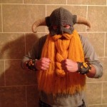 Crocheted Skyrim Inspired Helm with Beard and Bracers [pic]