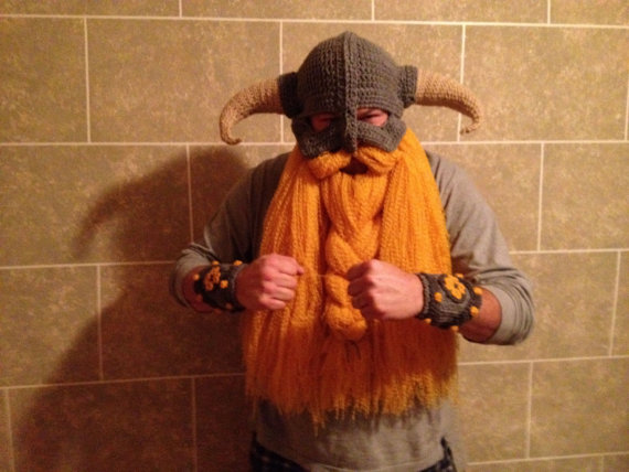Crocheted Skyrim Inspired Helmet with Beard and Bracers