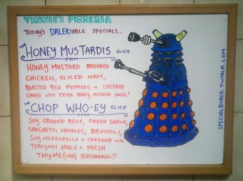 Doctor Who Dalek Pizza Specials Menu