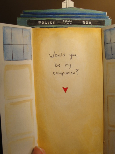 Doctor Who TARDIS Valentines Day Card Inside