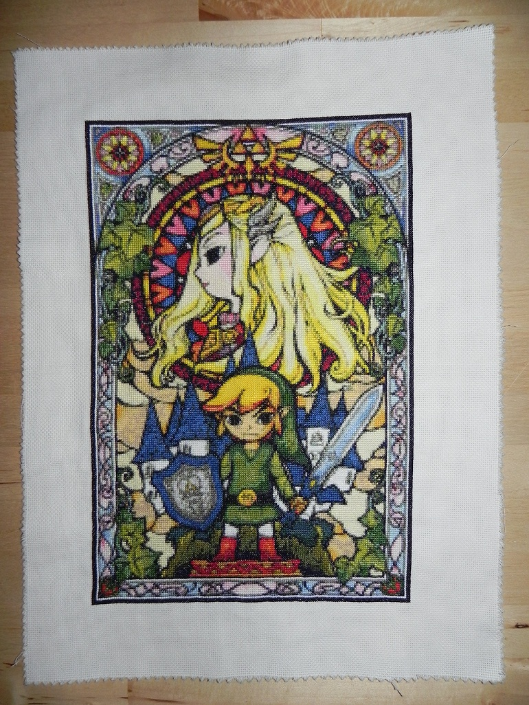 Legend of Zelda Windwaker Stained Glass Cross Stitch