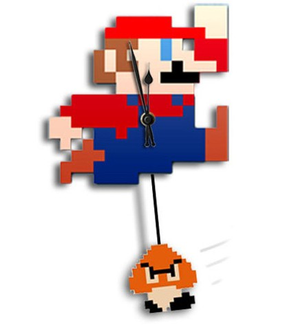 NES 8-Bit Mario Clock with Swinging Goomba Pendulum