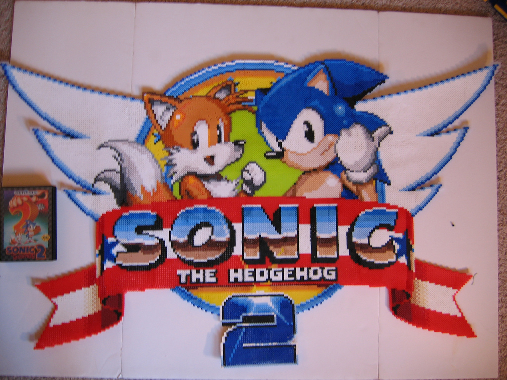 Sonic the Hedgehog 2 Logo Made with Beads