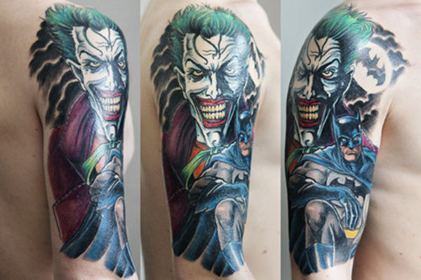 Colorful Batman and Joker Tattoo