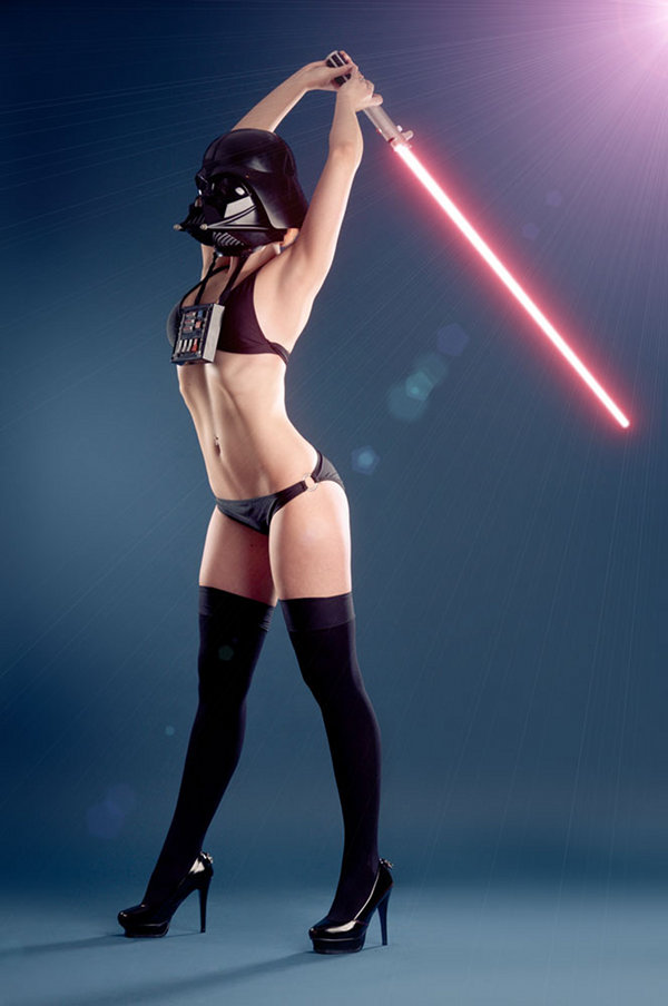 Female Darth Vader Stretching in a Bikini