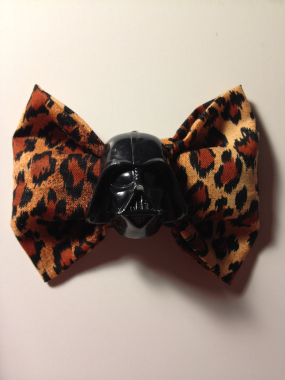 Jumbo Darth Vader Leopard Print Hair Bow