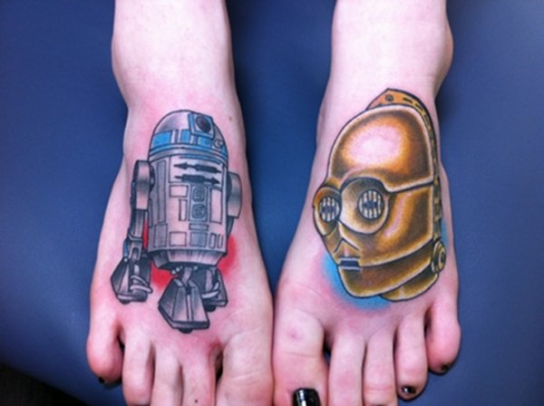 Star Wars R2-D2 and C-3PO Feet Tattoos