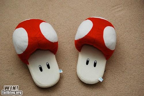 Super Mario Bros Red Mushroom Slippers
