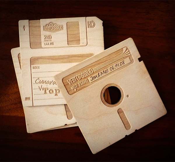 Wooden Floppy Disk Coasters