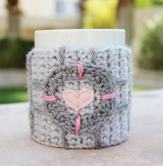 Crochet Portal Companion Cube Coffee Cup Cozy