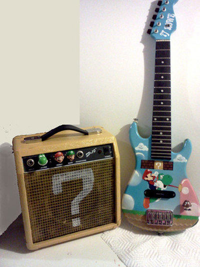 Custom Super Mario Bros Guitar and Question Block Amp