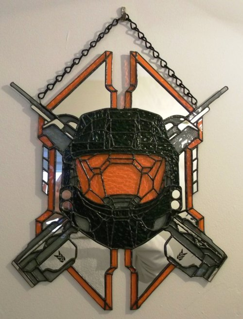 Halo Legendary Spartan Shield Stained Glass