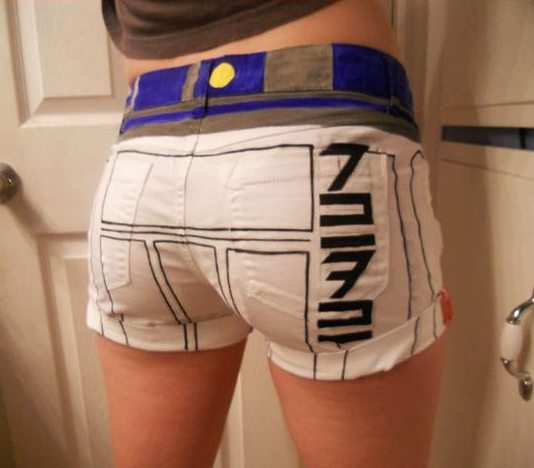 Hand-Painted R2-D2 Shorts Back
