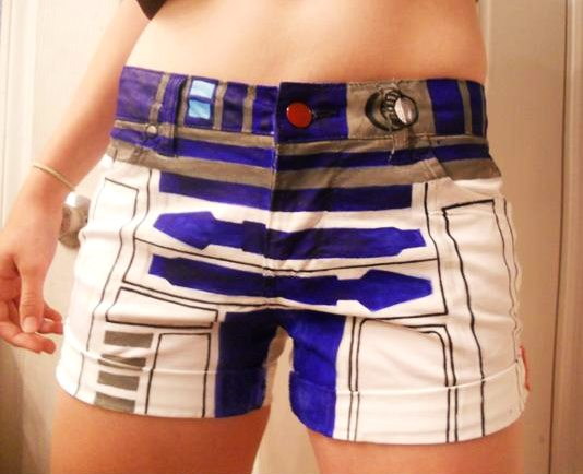 Hand-Painted R2-D2 Shorts