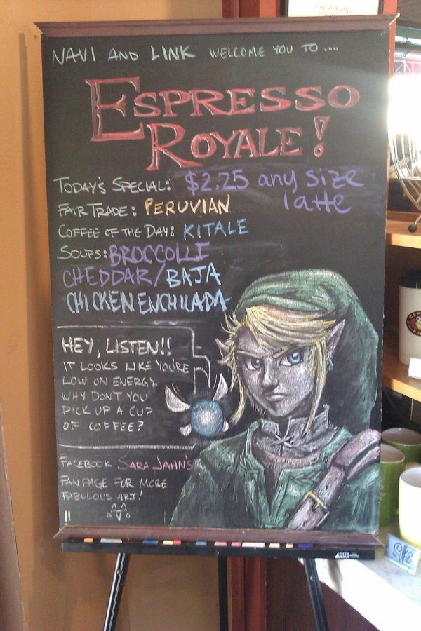 Legend of Zelda Link and Navi Chalk Art