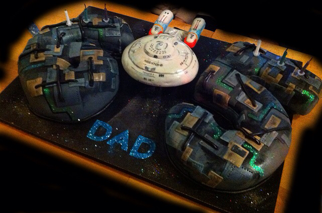 Star Trek Enterprise-D and Borg Birthday Cake