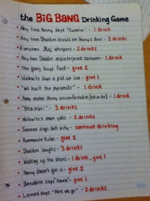 The Big Bang Theory Drinking Game