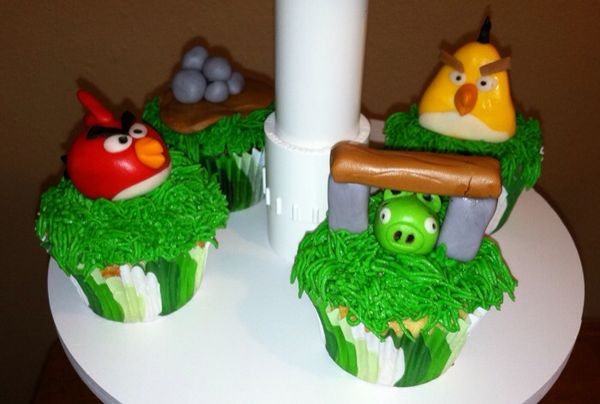 Angry Birds Cupcake Tower Close-Up