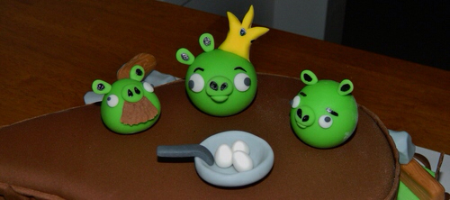 Angry Birds Cake Pigs Close-up