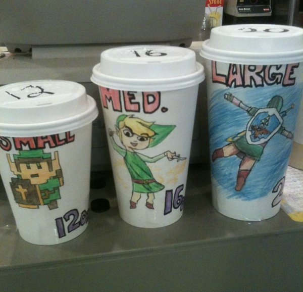 Legend of Zelda Link Coffee Cup Sizes