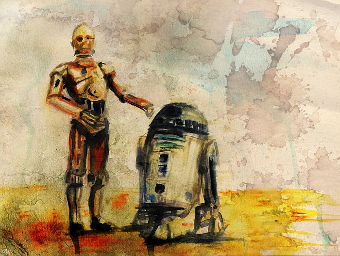 R2-D2 and C-3PO Watercolor Painting