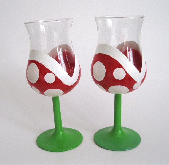 Super Mario Bros Piranha Plant Wine Glasses