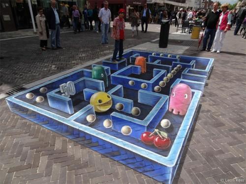 3D Pac-Man Street Art