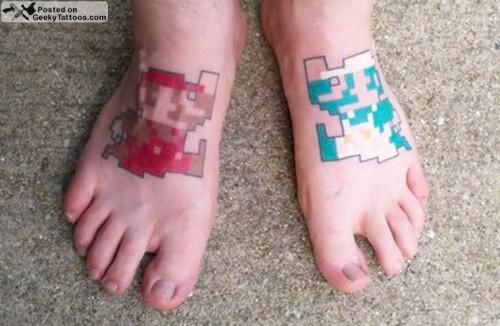8-Bit Mario and Luigi Feet Tattoos