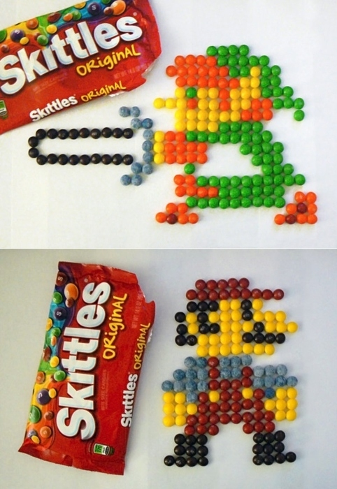8-bit Mario and Link Made with Skittles Candy