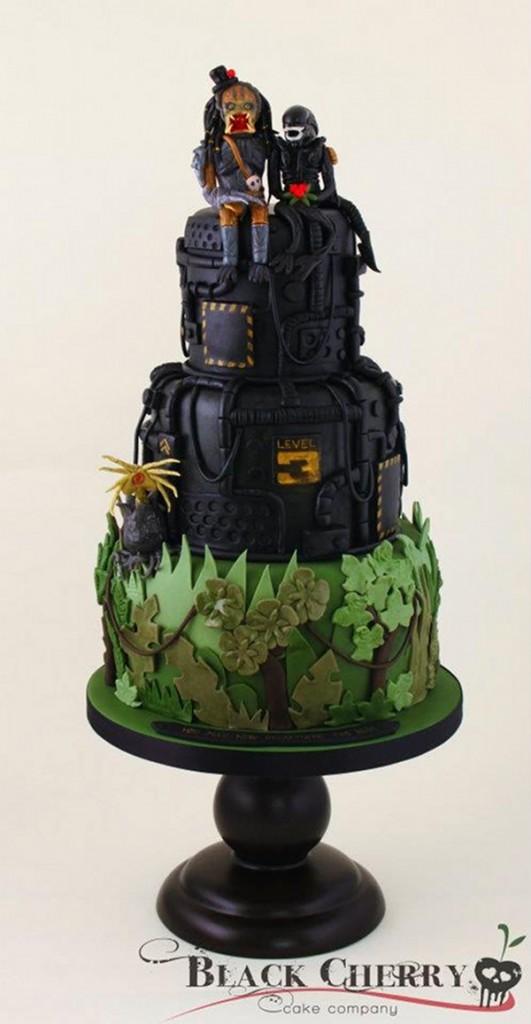 Alien and Predator Wedding Cake