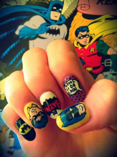 Batman Fingernail Art
