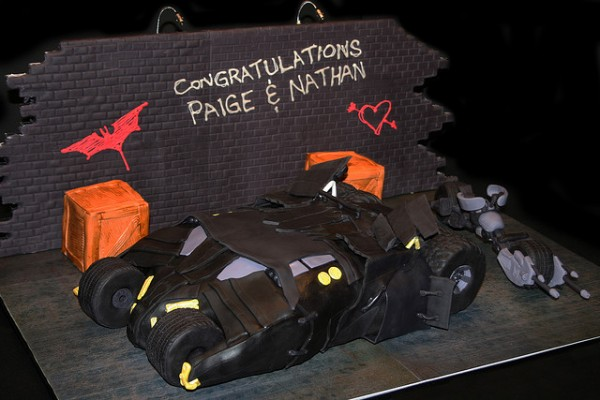 Dark Knight Batman Tumbler and Batpod Cake