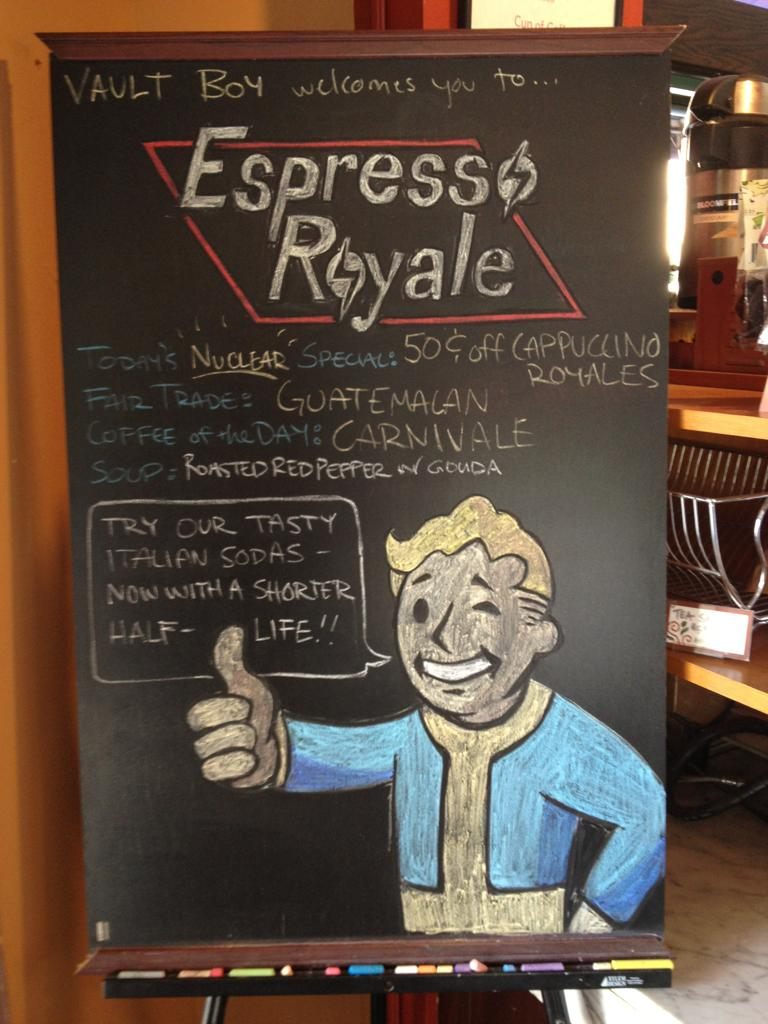 Fallout Vault Boy Specials Board Chalk Art