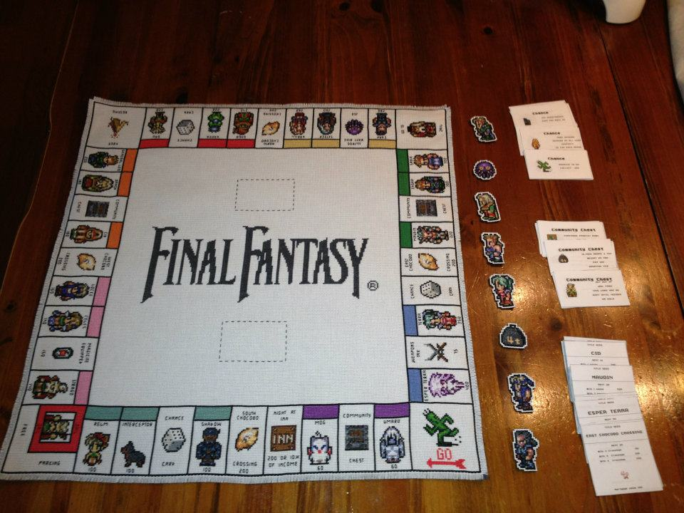 Cross-Stitch Final Fantasy III Monopoly Board Game