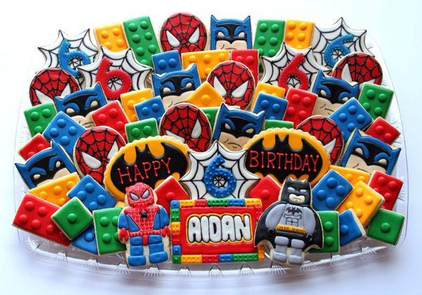 LEGO Batman Spider-Man and LEGO Brick Cookies