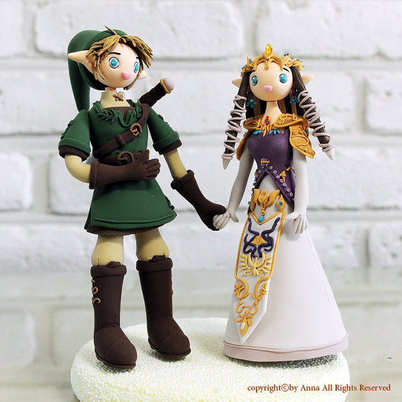 Legend of Zelda Link and Princess Zelda Wedding Cake Toppers