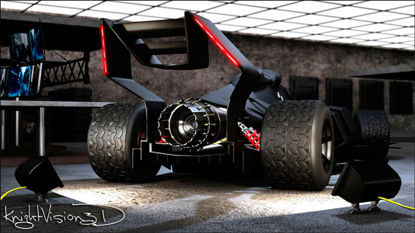 3D Concept Batmobile F1 Race Car Back